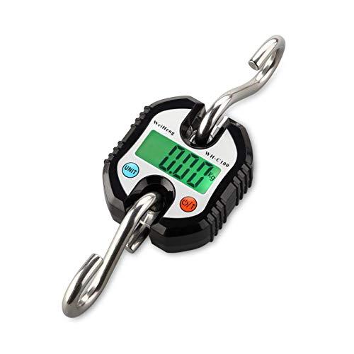 Fdit Mini Bilancia Elettronica Digitale Portatile con Gancio Display LCD Digitale Elettronico Gancio Appeso Bilance Ciclo Bilancia per Casa Azienda Agricola Caccia Esterna (Nero)