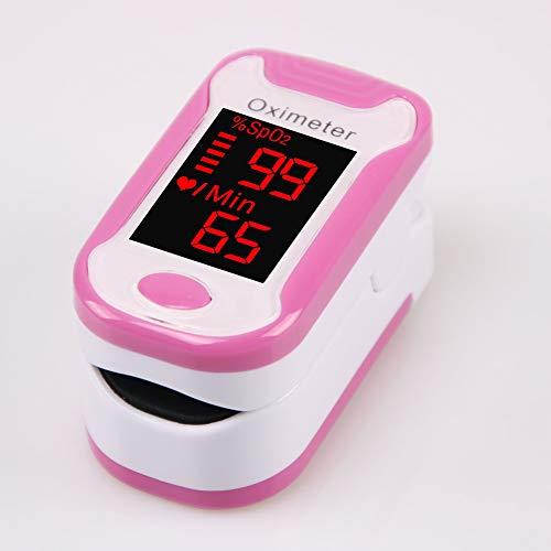 YHMMOO OLED Finger Pulsoximeter zur Messung von Sauerstoffsättigung (SpO2) Puls (PR) und Perfusion Index (PI) Geeignet für Kinder und Erwachsene,Pink