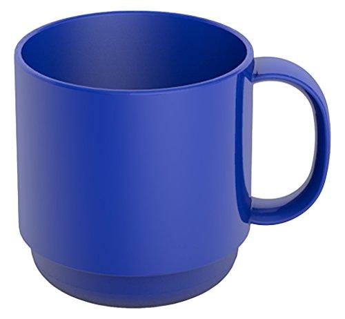 l blau | hochwertiger, stabiler Kaffeebecher aus Kunststoff mit Henkel | robustes Alltags-Geschirr für Kinder, Camping, Picknick, Gemeinschaftsverpflegung, Großküchen, Institutionen | Kaffeetasse, Mehrweg-Becher, Teetasse (Kunststoff-becher Mit Henkel)