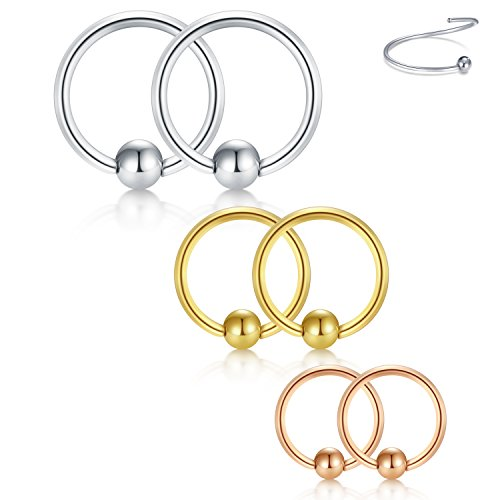 Briana Williams 18G 8mm 10mm 12mm Nose Hoop Lip Eyebrow Tongue Hélix Tragus Cartilage Septum Piercing Ring 6 UNITS