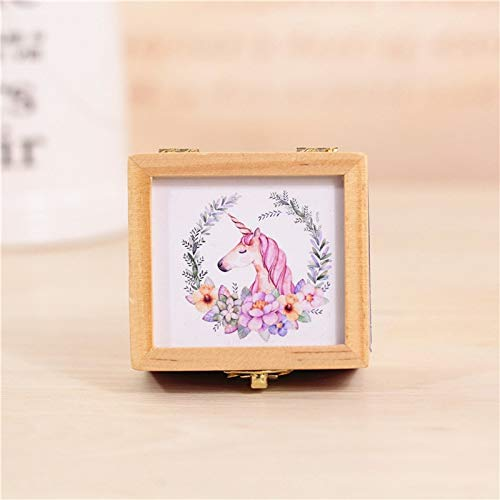 Music Boxes - Unicorn Wooden Retro Music Box Creative Decorations Party Birthday Favors Student Gift Hand - Studio Hand Dogs Light Have Expensive Mermaid Eligible Starry Granddaughters Rainbow -