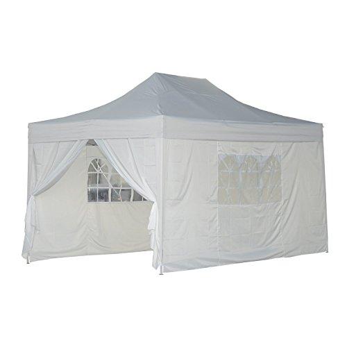 Gazebo da giardino - tenda da esterno, pieghevole, 4,5x3m, bianco