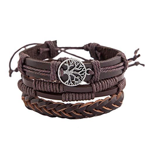 naisicatar multi-layered Chic Vintage braccialetti leather Wristband (Tree Of Peace) Gioielli da polso