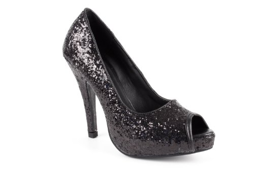 Andres Machado Peeptoe-Pumps in Glitzer-Optik, AM239GLITTER Schwarz, 42 EU