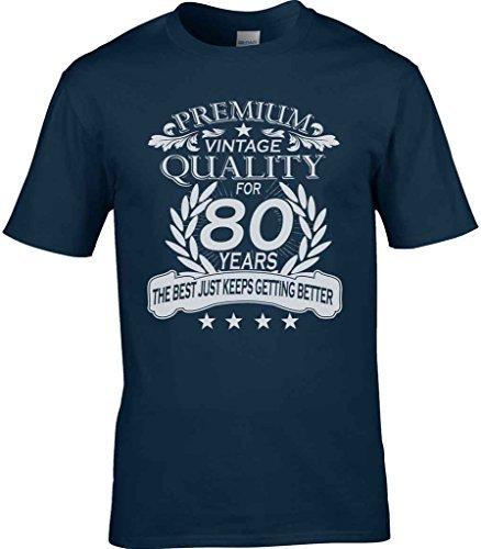 Herren Herren 80. Geburtstag T-Shirt Quality Celebration Geschenkidee Eighty Angehöriger 80 - Kann Individuelle Für Jedem Alter Marine