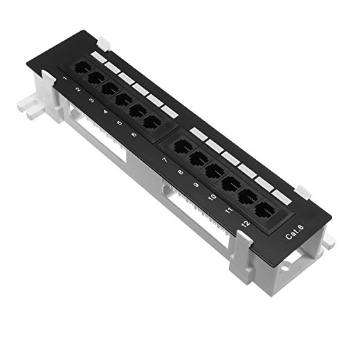 ILS - 12 Ports CAT-6 Mount Patch Panel Network Wall-Mount Mounting Rack Frame Bracket