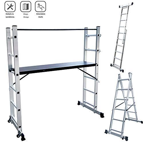 Froadp Aluminum Gerüste Mehrzweck Arbeitsgerüst mit MDF-Platte Rutschfeste Leiter Belastbarkeit bis 150KG Klappare Multifunktions Kombileiter mit 2 Streben und 2 Rad(2×6 Stufen)