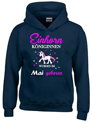 Einhorn Königinnen wurden im Mai geboren ! Unicorn NAVY-HOODIE, Gr.152cm