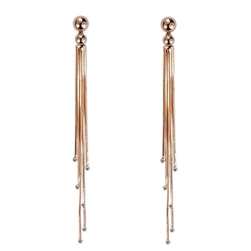 Celebrity nappa oro rosa placcato lungo serpente catena strass Orecchini pendenti di alta qualità - Catena Nappa Orecchini
