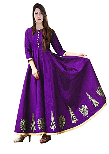Vaankosh Fashion Women's Embroidered Silk Cotton New Collection Kurti (Violet)