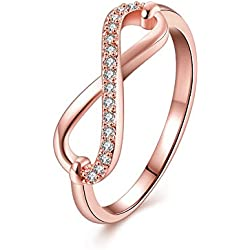 Via Mazzini Rose Gold Plated Infinite Love Crystal Infinity Ring For Women And Girls (Ring0300)