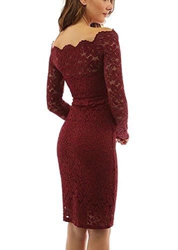 Brinny Robe de Femme en Dentelle Crochet Creux Broderie Floral Col Bateau Mince Midi Robe de Soirée Partie Cérémonie à manches longues rétro Dos Nue Taille S-2XL Vin Rouge