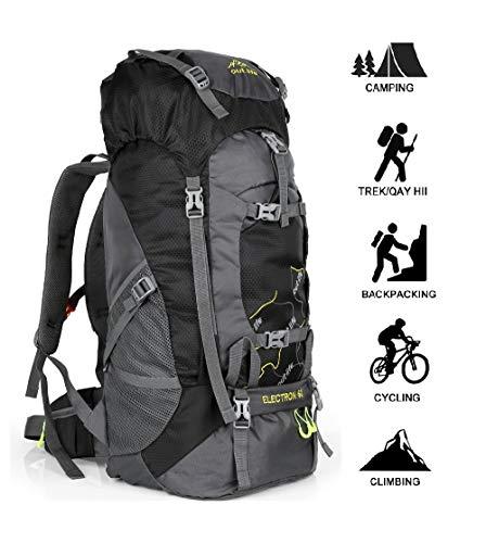 outlife Wanderrucksack 60L Trekkingrucksack Extra Large Leichter Trekking Camping Reiserucksack, reiß- und Wasserabweisender Rucksack mit Belüftungssystem (Schwarz)