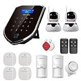 Wolf-Guard WM2GR-2IPC WiFi/gsm Alarma de Seguridad para el hogar Control por App/SMS Kit de Sistema de Alarma para el Hogar DIY con cámara,Marcación Automática SIM, Pilas Incluidas