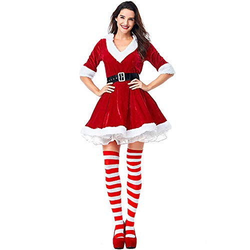 Kostüm Mrs Claus Womens - Women's 3 Piece mrs. Claus Costume Santa Outfit Xmas Fancy sexy Dress for with Socks