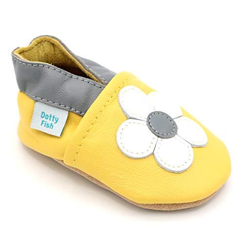 Dotty Fish weiche Leder Babyschuhe. Rutschfesten Wildledersohlen. 18-24 Monate (23 EU). Gelb mit weißer Blume.