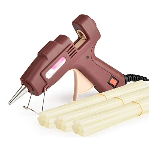 GYZ Heißklebepistole mit 30 Klebestiften Mini 20W elektrische Heißklebepistole mit professionellem Industriegrad für Kinder, die DIY Kunsthandwerk-Schulmöbelreparatur für Kinder, braun Klebepistole