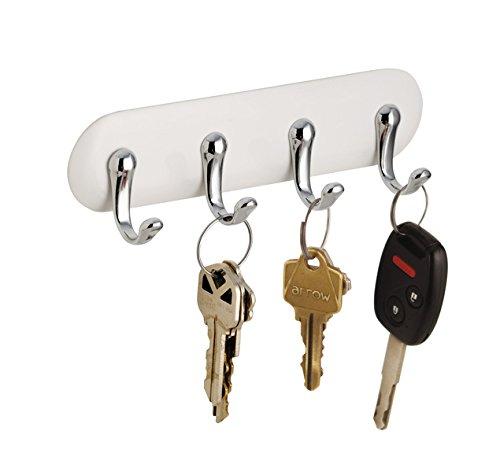 mDesign Hakenleiste selbstklebend - schmale Wandgarderobe mit 4 Garderobenhaken - zur Aufbewahrung von Schlüsseln, Schals, Handtüchern, Geschirrtüchern - weiß/Chrom