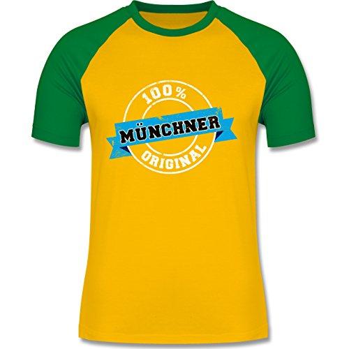 Städte - Münchner Original - zweifarbiges Baseballshirt für Männer Gelb/Grün