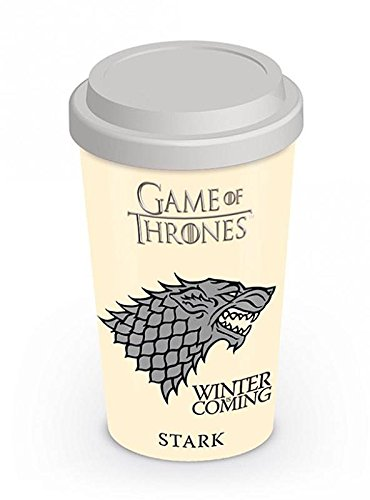 Game of Thrones Travel Mug House Stark/Kaffeebecher aus Porzellan mit Silikondeckel - Serie Travel Mug