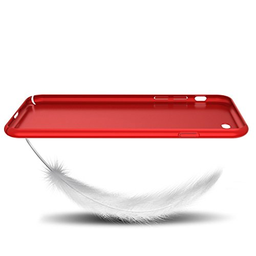 Cover iPhone 7 360 Gradi + Pellicola Vetro Temperato, Ultra sottile Leggera Antigraffio Antiscivolo Evasione di collisione Shell per iPhone 7 Puls rosso