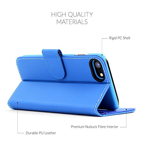 Cover iPhone 7 and 8, Snugg Apple iPhone 7 and 8 Flip Custodia Case [Slot Per Schede] Pelle Portafoglio Progettazione Esecutiva [Garantita a Vita] - Shark Skin Grey, Legacy Range Blu