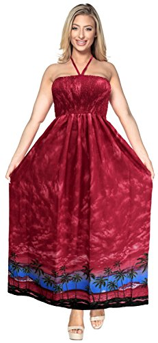 La Leela soft likre alle in 1 Badebekleidung Damen Abschlussball casual Abend Ferien sundress Tunika Kreuzfahrt Halfter langes Top Bandeau-Bikini-Vertuschung Lounge Kleid Rock des Kleides der Frauen Rot