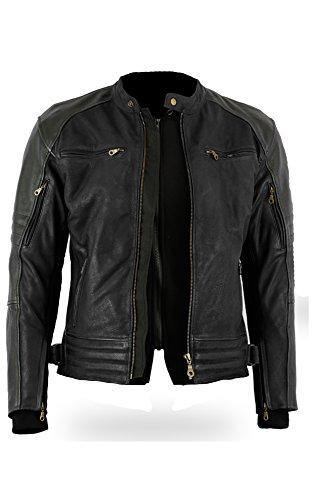 Full nero Bikers Gear The Craig giacca moto nabuk cerato in pelle bovina con cappuccio con 5/punti Armour taglia Small