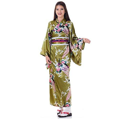 Japanischer Geisha Kimono Kujaku Godlgrün Satin One (Sexy Outfits Geisha)