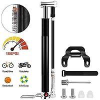 AIRSSON Mini Fahrradpumpe mit Manometer Rahmenpumpe Alloy Fahrrad Luftpumpe mit stabilisierenden Fuß Peg Hochdruck 160 PSI Fußpumpe für Rennrad Mountainbike Luftmatratze BMX Presta & Schrader Ventile