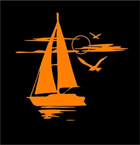 Pegatina Promotion Segelboot im Sonnenuntergang mit Möwen 30 cm Aufkleber Sticker Autoaufkleber Wandtattoo Surf Kite Surfen Wassersport Fun Sea