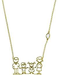 Bohala joyería - Gargantilla en plata de ley 925 con baño en oro y piedra semipreciosa, con cierre reasa - modelo family