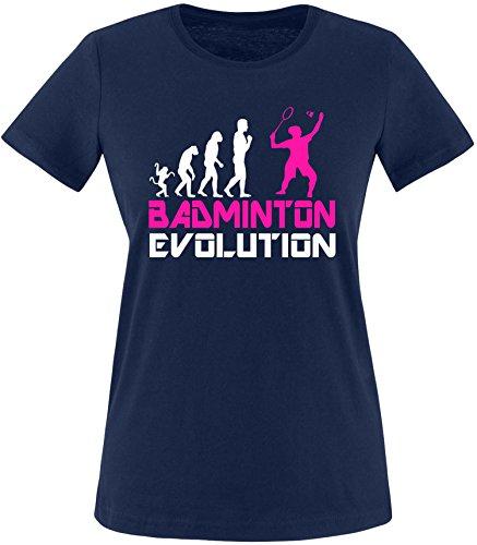 EZYshirt® Badminton Evolution Damen Rundhals T-Shirt Navy/Weiss/Pink