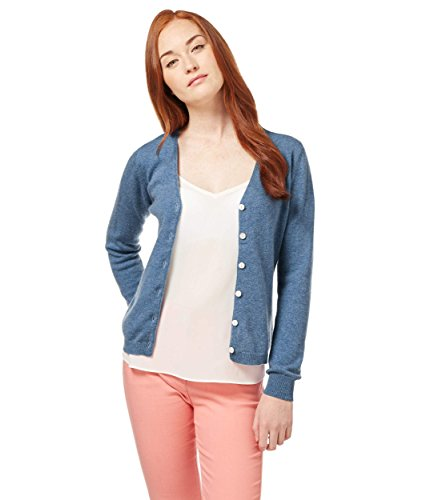 WoolOvers Cardigan luxueux à col V - Femme - Cachemire & Mérinos Bluebell