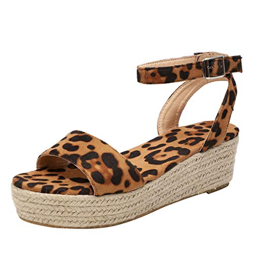 VECDY Damen Sandalen Mode Schuhe Riemen Ankle Buckle Platform Wedges gewebte Sandalen römische Schuhe Women Flache Schuhe