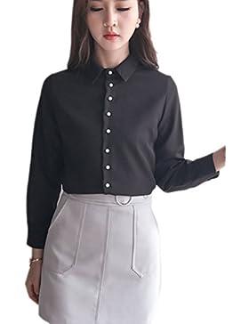 Soporte sólido Collar delgado blusa de la gasa de la mujer Black XL