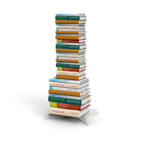 Bücherstapelregal freistehend mit unsichtbaren Bücherregalen 2-1er-Set variabel 2xklein und 1xgross in weiss für ca. 115 cm Büchersäule
