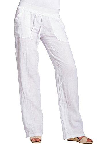 CASPAR KHS025 Damen Leinenhose, Farbe:weiss;Größe:36 S UK8 US6