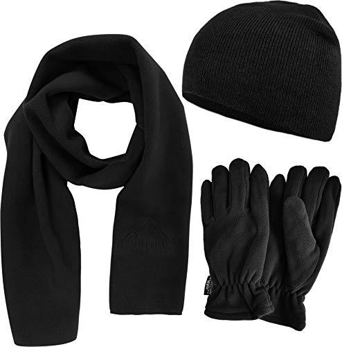 normani Unisex - Wärmendes Winterset bestehend aus weicher Strick Beanie Mütze, Microfleece Schal, 3M Thinsulate Fleece-Handschuhen [S-3XL] Größe XXL -
