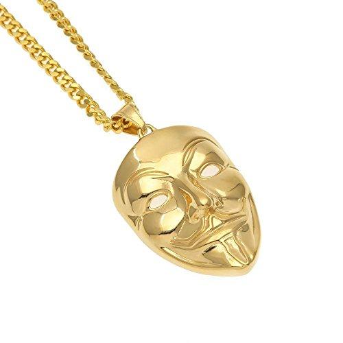 Aoligei Persönlichkeit Tide Marke Hip Hop Gold V Vendetta Maske Clown Maske Edelstahl Europäischen