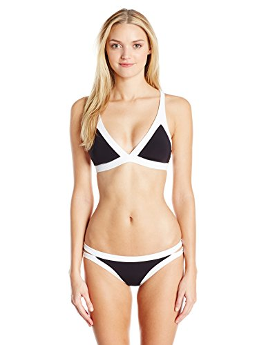 Seafolly Damen Bikinihose Block Party Brazilian Pant Schwarz (Black)
