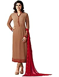 Multi Retail Brown Fancy Georgette Print And Embroidered Unstitched Straight Salwar Suit With Dupatta, Bottom...