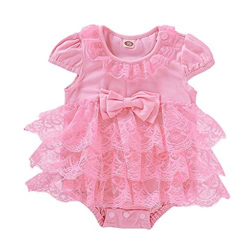 Alwayswin Neugeborenes Baby Mädchen Lace Floral Strampler Outfits Baby Kurzarm Einfarbig Bogen Romper Tutu Bodysuit Mode Süß Babybody Tägliche Kleidung (Creeper Kostüm Ideen)
