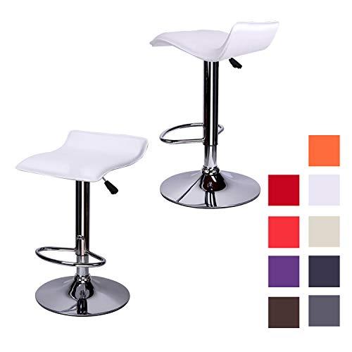 2 Pz Colore Bianco Sgabello Girevole Ed Altezza Regolabile con Poggiapiedi per Casa Sgabelli da Bar Cucina Sedia in Ecopelle con Schienale Alto Design Elegante Moderno EGLEMTEK Plusmir