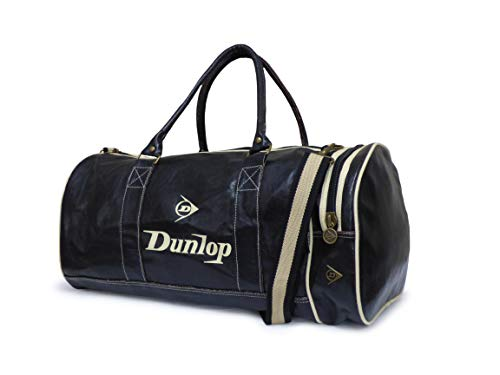Dunlop Retro Gym Holdall Sports Weekend Barrel Shoulder Bag Black