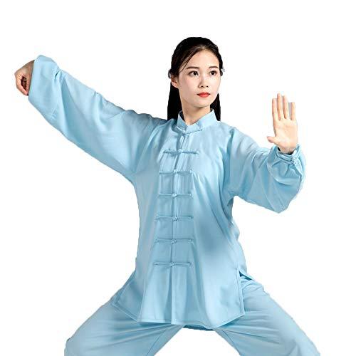 tai chi Damen Herren Anzug Shaolin Wushu Training Uniform Kung Fu Uniform Kampfsport Kleidung,Seidig, Atmungsaktiv Und Weich, Baumwolle Plus Seide, Erwachsene,Blue1-XXL