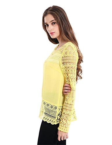 JOTHIN Damen Einfarbige Sommer Spitze Blusen T-shirt Langarm Tops Perspective Blusen Loose Gelb