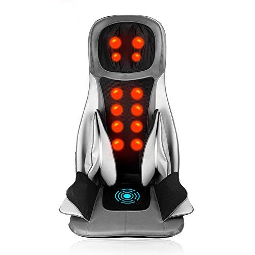 GESS18 12-Motor 3 Intensität Rückenmassagegerät Shiatsu Massage Sitzkissen mit Heat Rolling Kneten Vibration für Pin-Point entlasten Rücken Nacken Schulterschmerzen (Mode Rolling Pin)