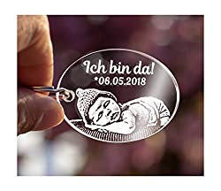 CHRISCK design Schlüsselanhänger aus Acrylglas mit Gravur Fotogravur Oval Gravur Partner-Liebes-Geschenk Freundinnen Geschwister Geschenkidee zu Valentinstag Foto Valentinstagsgeschenk