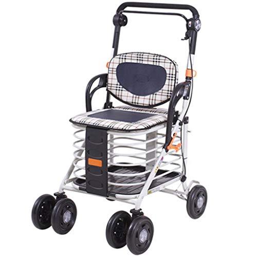 Rollatoren Walker Zusammenklappbarer Multifunktionsroller Quad Für Rehabilitationsübungen Erweiterung des Leichten Einkaufswagens (Color : Silver, Size : 32 * 45 * 100cm) -